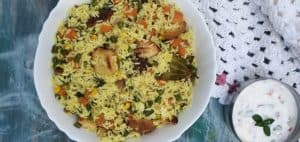Indian cooking mixed vegetable pulao